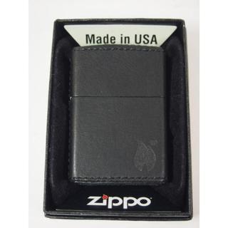 ジッポー(ZIPPO)のZippo 革巻き ファイア 炎 ブラック 黒 ZFFBK プレーン(タバコグッズ)