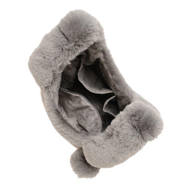 DURAS(デュラス)の★DURAS★ポンポン付エコファーバッグ★グレー レディースのバッグ(ハンドバッグ)の商品写真