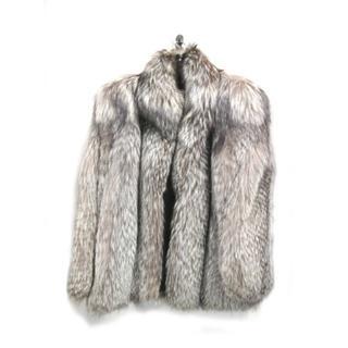 値下げ 新品同様 コート シルバーフォックス ショート丈 北欧サガ グレー 11(毛皮/ファーコート)