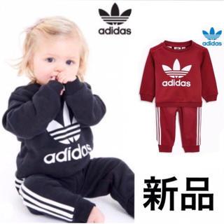 アディダス(adidas)のアディダス ベビー服 レッド 上下セット(Tシャツ)