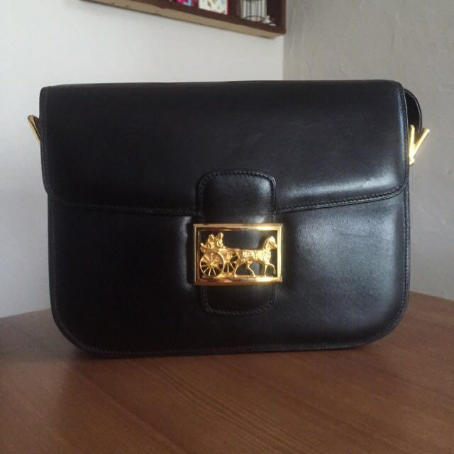 celine(セリーヌ)の70's仏!CELINE黒レザーバッグ レディースのバッグ(ハンドバッグ)の商品写真