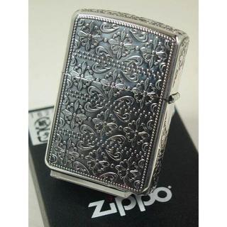 ジッポー(ZIPPO)のZippo アーマー クロスモチーフ 5面 エッチングシルバー 銀燻し SA(タバコグッズ)