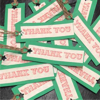 ✿ハンドメイド✿  サンキューカード (グリーン) タグタイプ  35枚入り(カード/レター/ラッピング)