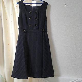 ジェーンマープル(JaneMarple)のJane Marple British Stripe ドミトリードレス紺(ひざ丈ワンピース)