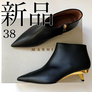 マルニ(Marni)の新 品 MARNI マルニ ブラック ×ゴールド バイカラー ブーツ ブーティ(ブーティ)