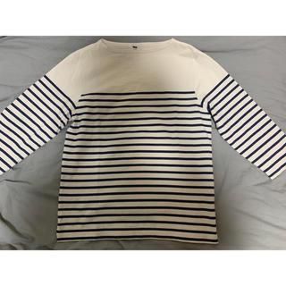 ムジルシリョウヒン(MUJI (無印良品))の無印良品 ボーダーカットソー 七分袖 メンズ Mサイズ(Tシャツ/カットソー(七分/長袖))