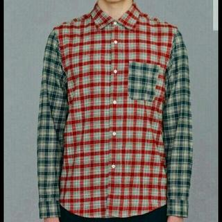 ジーユー(GU)のGUキムジョーンズコラボフランネルチェックカラーブロックシャツメンズMサイズ(Tシャツ/カットソー(七分/長袖))