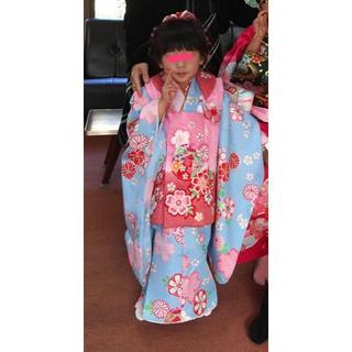 七五三 3歳児 着物 被布フルセット 水色✖︎ピンクお値下げ❤️(和服/着物)