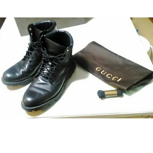 Gucci(グッチ)のグッチ GUCCI ブーツ コンバット レザー ブラック メンズの靴/シューズ(ブーツ)の商品写真