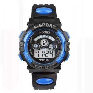 **SALE**   生活防水 多機能 デジタル スポーツウォッチ ☆ ブルー(腕時計)