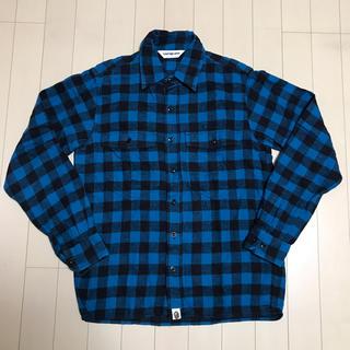 アベイシングエイプ(A BATHING APE)のBAPE ネルシャツ ブルー ブロック チェック シャツ エイプ ベイプ(シャツ)