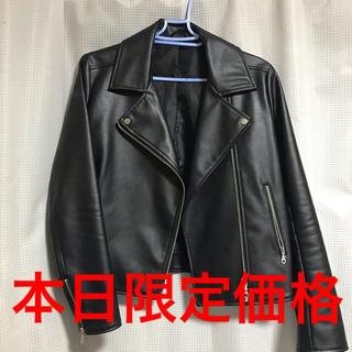 ジーユー(GU)のライダースジャケット ブラック(ライダースジャケット)
