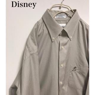 ディズニー(Disney)のミッキー ボタンダウンシャツ ストライプ M(シャツ)