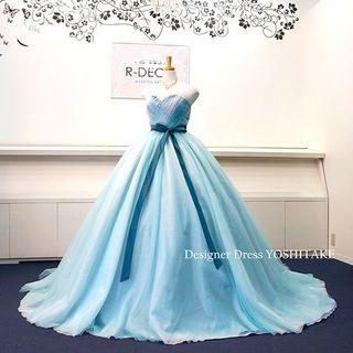 ウエディングドレス(パニエ無料) ブルーチュールラメ入りドレス 披露宴/二次会(ウェディングドレス)