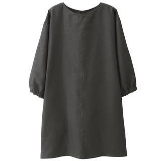 ムジルシリョウヒン(MUJI (無印良品))の新品   無印良品  麻平織 割烹着 墨黒(収納/キッチン雑貨)