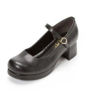 ユメテンボウ(夢展望)の夢展望シンプル定番ロリータパンプス(ブラック)(ローファー/革靴)