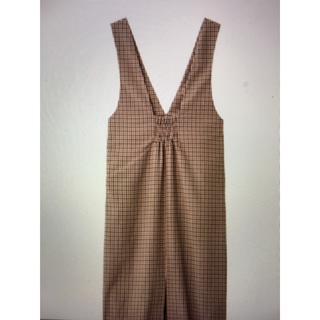 ジーユー(GU)のGU ジャンパースカート Lサイズ 茶色チェック(その他)