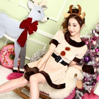 コスプレ 仮装 衣装 トナカイ クリスマス パーティー ワンピース 4点セット(衣装一式)