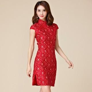 4L 新品 チャイナドレス 赤 大きいサイズ 半袖ミニワンピース ドレス 制服(ミニワンピース)