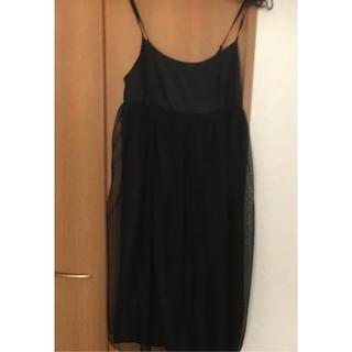 クチャ(cuccia)のCuccia クチャ シフォンワンピース ドレス シルク 黒(ミニワンピース)