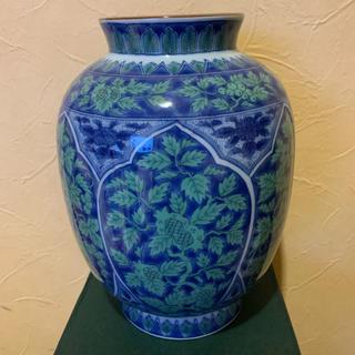 青華緑彩高台花瓶(大)庫山窯(花瓶)