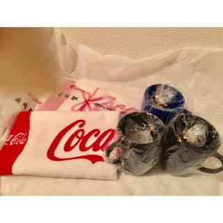 コカコーラ(コカ・コーラ)の【未使用】非売品 Coca Colaタオル(2) &ジョージア プラコップ(3)(ノベルティグッズ)
