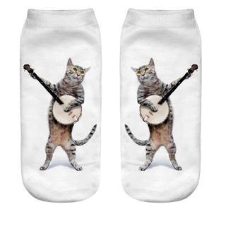 猫くつした 楽器猫ちゃん♪ レディースソックス 新品未使用品 送料無料♪(猫)