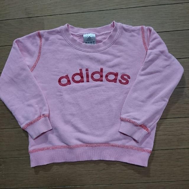 adidas(アディダス)のadidas  アディダス ロゴ入り  ピンク トレーナー 95 100   キッズ/ベビー/マタニティのキッズ服 女の子用(90cm~)(ジャケット/上着)の商品写真