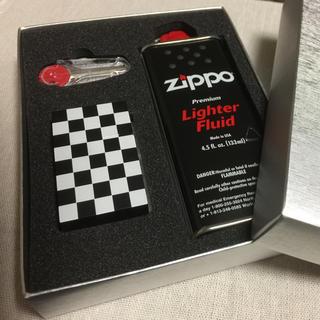 ジッポー(ZIPPO)のzippo 白黒チェック柄  セット(タバコグッズ)