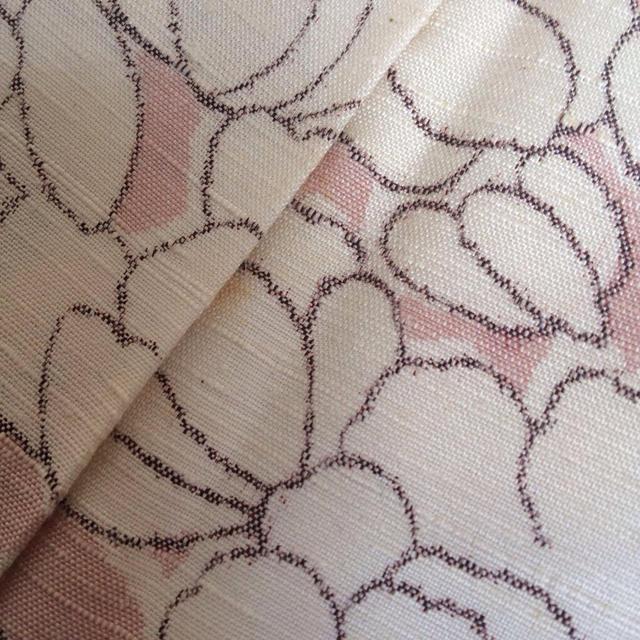 正絹 袷 紬 ピンク牡丹 レディースの水着/浴衣(着物)の商品写真