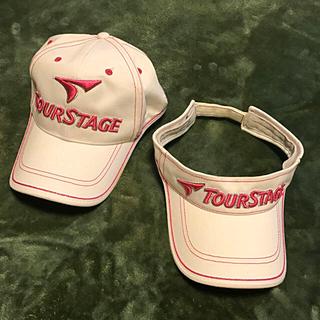 ツアーステージ(TOURSTAGE)のツアーステージ レディース キャップ バイザー セット ラメピンク(ウエア)