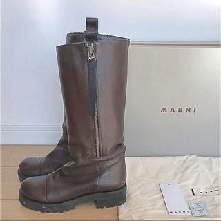 マルニ(Marni)のマルニ MARNI サイドジップ 厚底 レザー ブーツ 10万 36 クロエ(ブーツ)