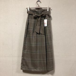 シマムラ(しまむら)のしまむらチェックリボンラップスカート新品(ひざ丈スカート)