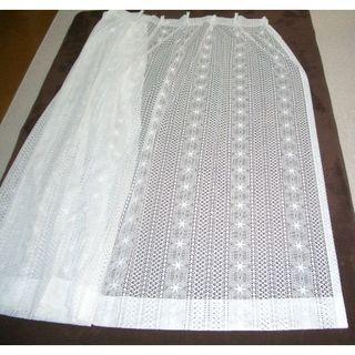 レースカーテン 丈:約170cm 巾:約284cm 2枚 美品!(レースカーテン)