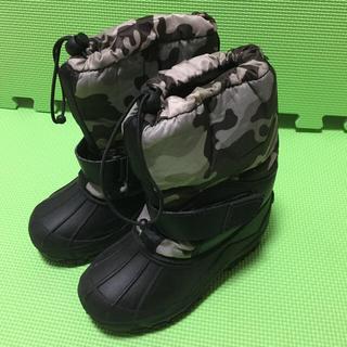 スノーブーツ サイズ18cm 迷彩柄 黒×グレー(ブーツ)