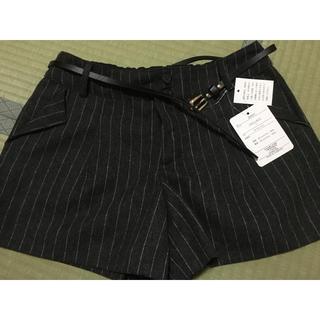 シマムラ(しまむら)のしまむら ショートパンツ 黒 ブラック ストライプ ベルト付き 新品未使用 L(ショートパンツ)