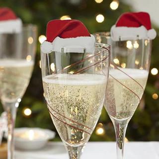 クリスマスパーティーに!とってもかわいい♡グラスに付けるサンタ帽!イベント 冬(収納/キッチン雑貨)