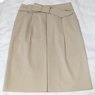 フォクシー(FOXEY)の美品✩フォクシー ウエストリボンスカート ベージュ / シャネル プラダ ルネ(ひざ丈スカート)