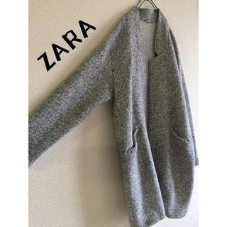 ザラ(ZARA)のZARA ザラ ニットロングカーディガン グレー(ニットコート)