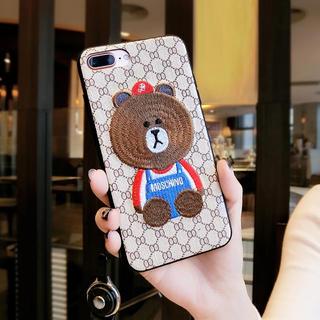 【iPhone7plus.iPhone8plusケース】刺繍くまさん(iPhoneケース)