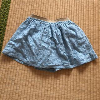 ジーユー(GU)のgukids水色レーススカート110センチ☆インナーショーパン付き(スカート)