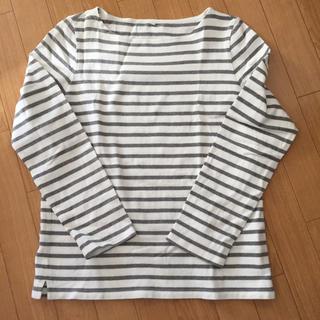 無印良品 オーガニックコットン 太番手 ボーダー長袖Tシャツ 婦人L