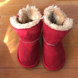 美品 ブーツ 赤 14.0cm ロングブーツ キッズ 女の子(ブーツ)