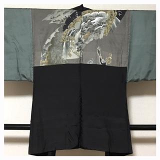美品【上質 逸品】正絹 男物 紋付き 羽織 風景 ひょうたん柄 中古品(着物)