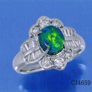 ブラックオパール 1.44ctリング 指輪 Pt900 ダイヤ 13号(リング(指輪))