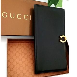 0c3be863bfb5 グッチ(Gucci)の正規 GUCCI オールドグッチ レザー 長財布 ブラック レディース メンズ(