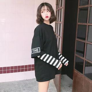 韓国ファッション 肩出し ロングTシャツ(Tシャツ(長袖/七分))