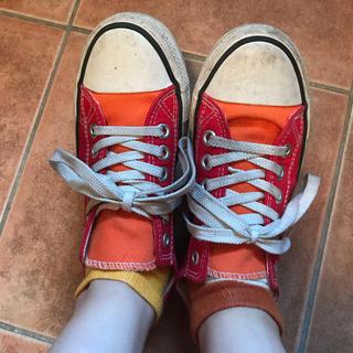 靴 赤 オレンジ スニーカー シューズ 紐付き 学生 バイト(スニーカー)