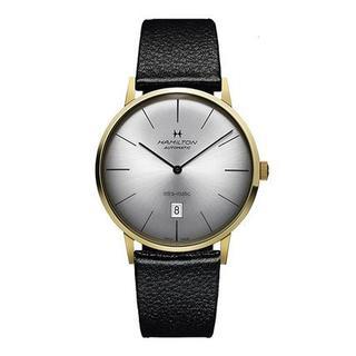 ハミルトン メンズ 腕時計 ブラック レザー 自動巻き(腕時計(デジタル))