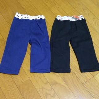 シマムラ(しまむら)の新品タグ付き 80㎝ 裏起毛あったかズボン 2着 ネイビー ブラック(パンツ)